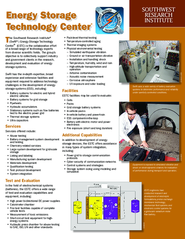 energy storage technology center flyer