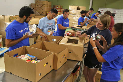Group of people sorting food from boxes on tables