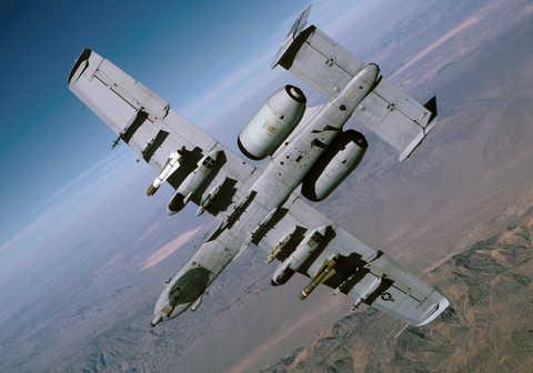 The Fairchild Republic A-10 Thunderbolt II aircraft in the sky