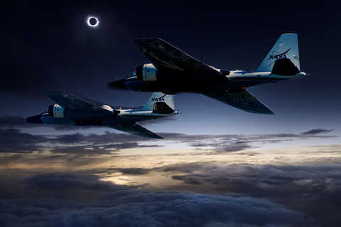 NASA WB-57 flight during solar eclipse