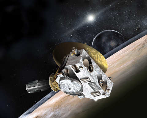 This artist's concept shows NASA's New Horizons spacecraft during its 2015 encounter with Pluto