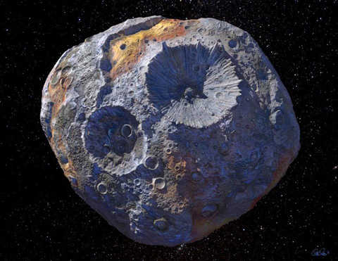 Closeup of 16 Psyche with numerous craters of different sizes visible