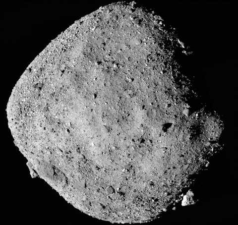Black and white photo of near-Earth asteroid Bennu