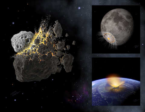 Artist's concept shows asteroid breakup and fragments hitting the earth and the moon