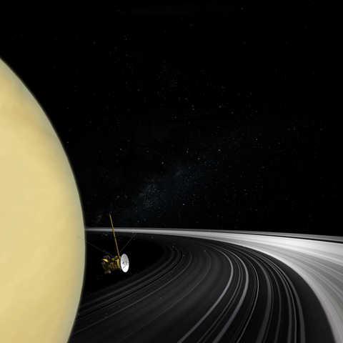 Cassini satellite orbiting around Saturn