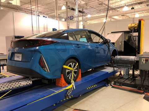 Blue vehicle on a dynamometer