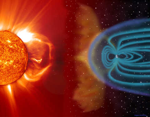 Red/orange sun on the left and solar wind interactions with Earth on the right