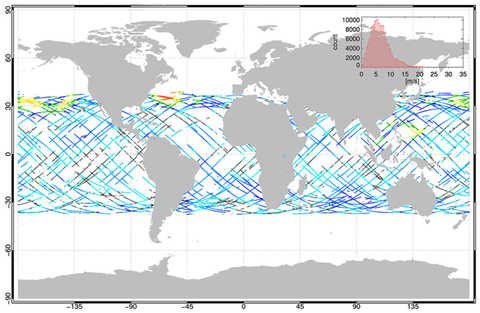 map shows the ocean surface wind measurements