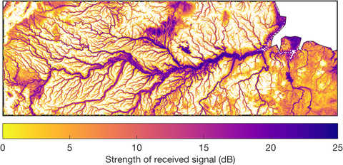 CYGNSS imagery of Amazon river basin flood
