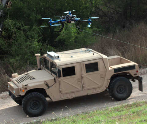 Unmanned ground vehicle driving with a drone flying overhead