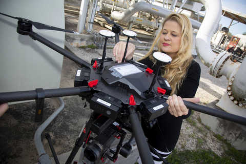 Drone that uses midwave infrared cameras (MWIR) to autonomously detect methane leaks