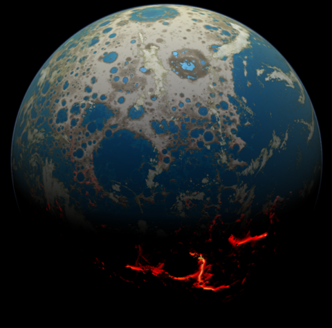 illustration showing how the early Earth might have looked under bombardment