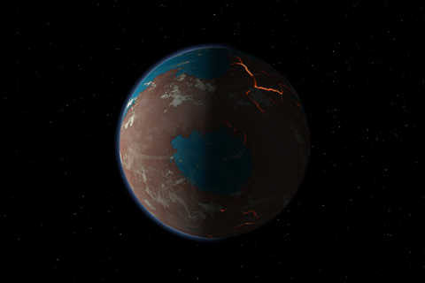 Illustration of how early Mars may have looked, showing signs of liquid water, large-scale volcanic activity and heavy bombardment from planetary projectiles