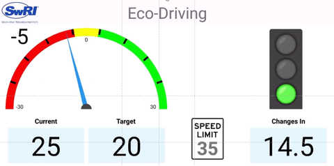 Application screen with vehicle data and a green light visible