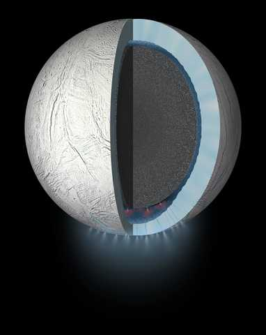 Artistic representation of Enceladus's core with plumes coming from the bottom of the planet
