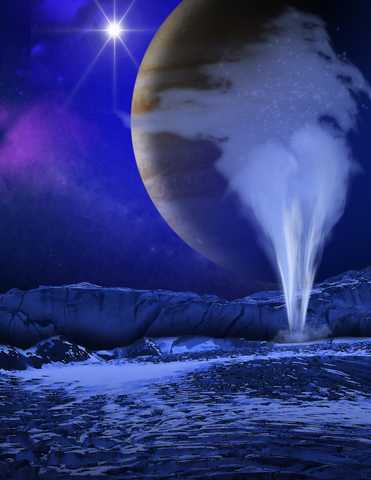 concept of a plume of water vapor thought to be ejected off the frigid, icy surface of the Jovian moon Europa