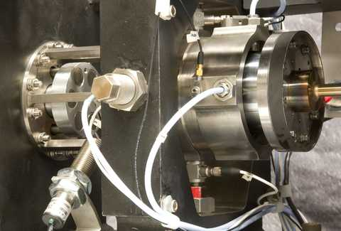 The SwRI-designed 60,000 rpm gas bearing test rig was developed for evaluating the rotordynamic stability of gas bearings.