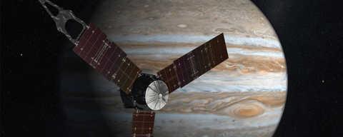 Artist interpretation of Juno orbiting Jupiter