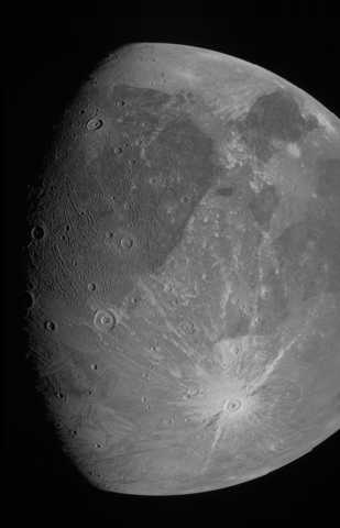 Ganymede photo obtained by the JunoCam imager during Juno's June 7, 2021, flyby of the icy moon