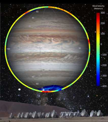 Computer composite image of powerful polar winds in Jupiter's stratosphere