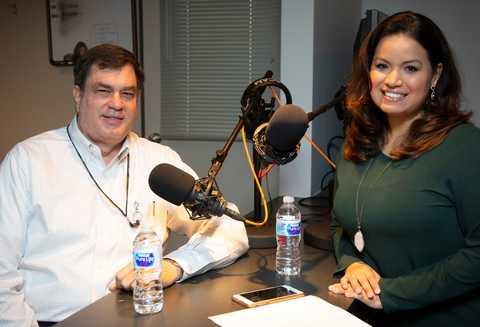 Lisa Pena and Steve Dellenback in the studio