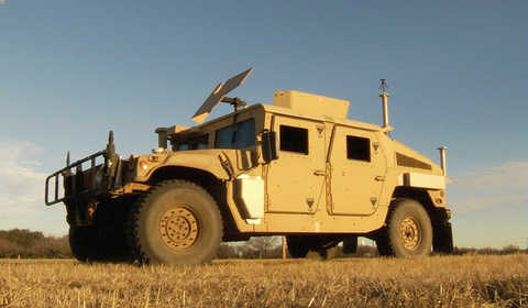 military HMMWV is outfitted with Southwest Research Institute's AVM-375 low-profile antenna set