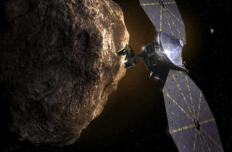 Artist rendition of Lucy and Jupiter's Trojan asteroids