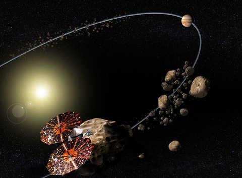 Lucy Satellite Orbit Towards Trojan Asteroids