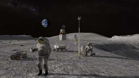 Surface of the Moon with astronauts and equipment