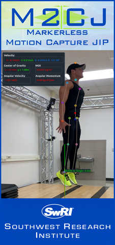 Man in workout attire being captured by the M2CJ motion capture system
