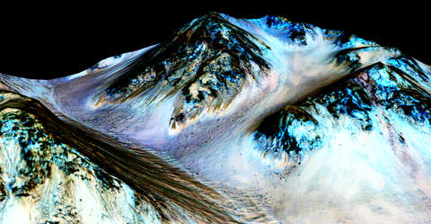 Depiction of Hale Crater with colored areas on the slopes