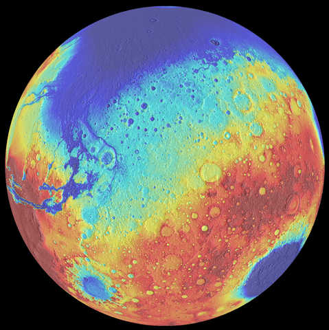 Mars bears the scars of five giant impacts, including the ancient giant Borealis basin (top of globe), Hellas (bottom right), and Argyre (bottom left)