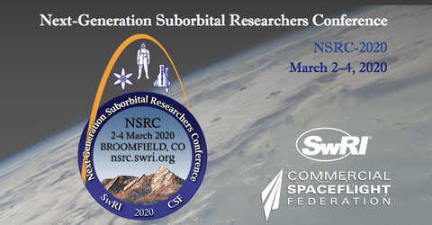 NSRC logo with mountains, astronaut and a chemistry flask with the Earth in the background
