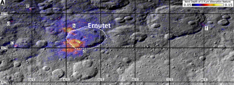 Image: region around the Ernutet crater where organic concentrations have been discovered