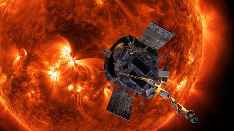 Graphic representation of Parker solar probe orbiting around the Sun
