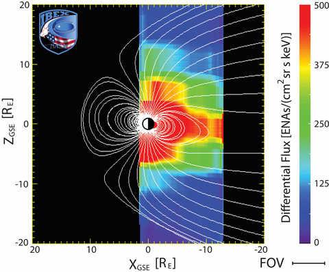 computer image of magnetospheric plasma sheet in profile