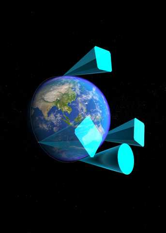 Illustration of the four PUNCH satellites spread out around Earth