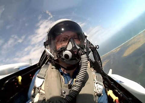 Photo of Dr. Dan Durda undergoing flight training.