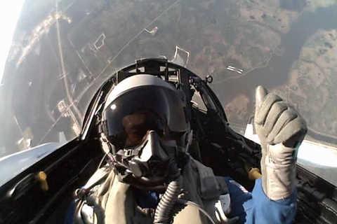 Photo of Dr. Alan Stern undergoing flight training.