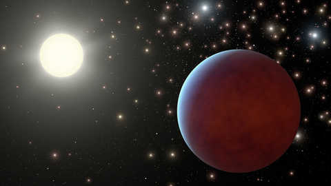 Pink planet up close with a star in the background and multiple other stars further away
