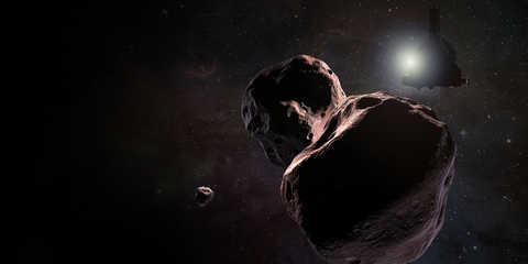 Artist's impression of NASA's New Horizons spacecraft encountering 2014 MU69