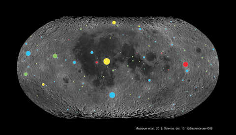 Lunar Reconnaissance Orbiter data of the Moon's craters