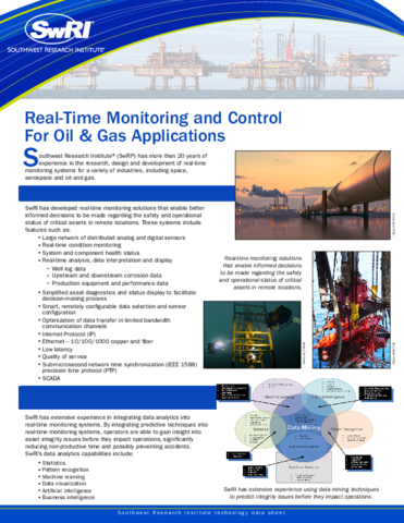 Go to real time monitoring and control for oil and gas applications flyer