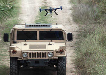 Image: Driverless vehicle autonomously controls an aerial drone