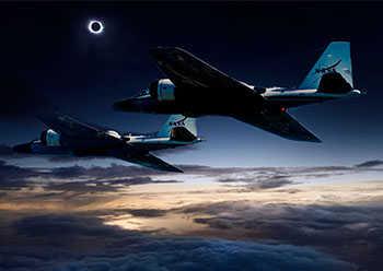 NASA WB-57 flight during solar eclipse