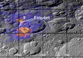 region around the Ernutet crater where organic concentrations have been discovered