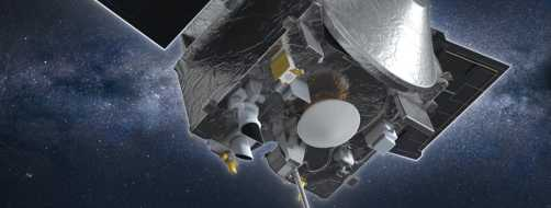 Artist's conception of NASA's OSIRIS-REx spacecraft collecting a sample from the asteroid Bennu.