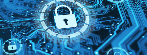 Cybersecurity concept locks on blue integrated circuit
