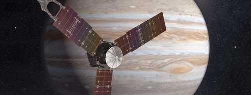 Juno spacecraft in front of Jupiter