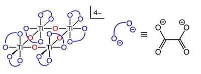 Atom connectivity in ammonium titanyl oxalate